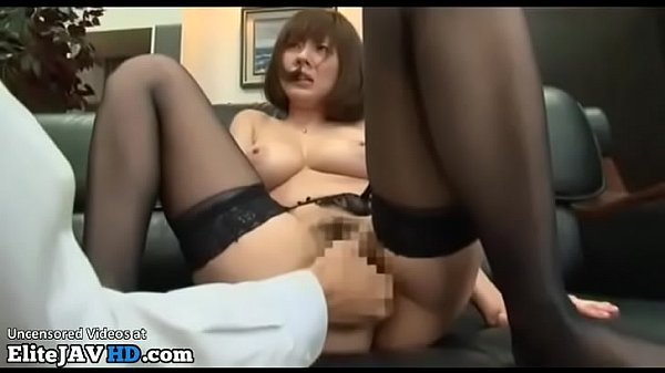 Japanese busty secretary in stockings has rough meeting