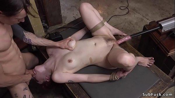 Deep throat babe anal toyed in bondage Thumb