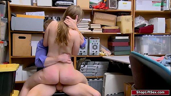Mall officer fucks petite blonde thief