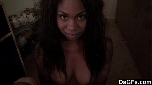 Black babe teasing her boyfriend with her gorgeous body