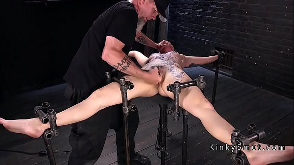 Brunette in device bondage made to squirt