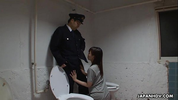 Asian prisoner sucking off the guard's penis
