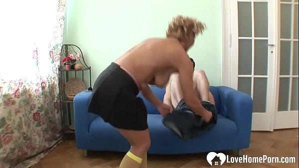 Blonde MILF enjoys a stud's hard boner  thumbnail