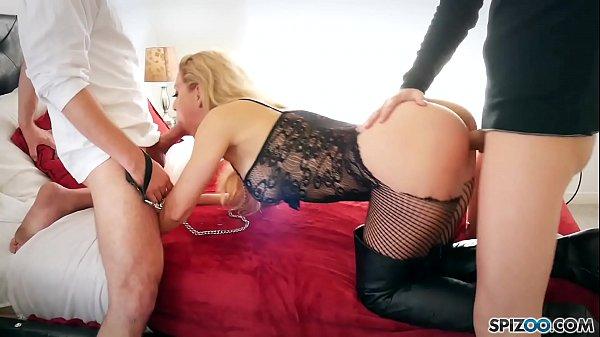 Spizoo - Pet slut Cherie De Ville is fucked by two big dicks, big boobs