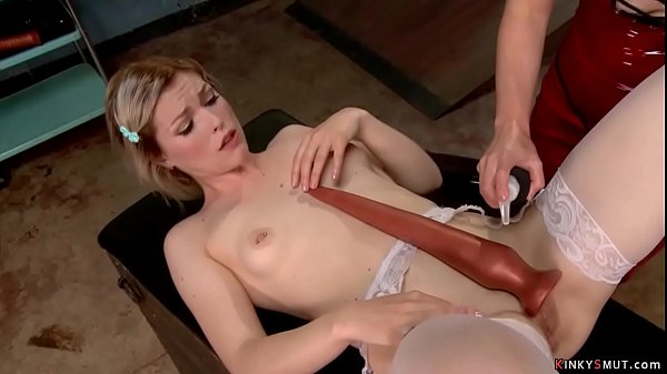 Blonde lesbian anal fucked with toy