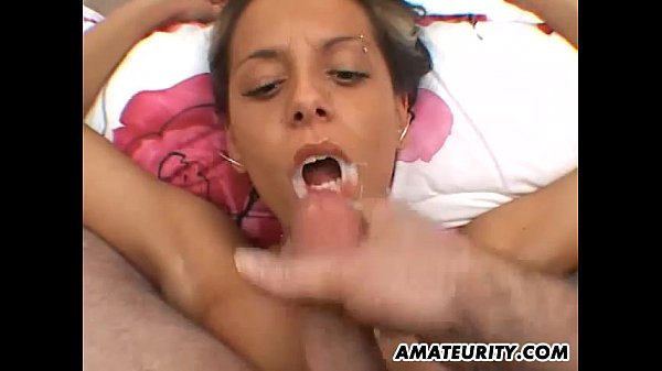 Amateur girlfriend with big tits gives head with facial