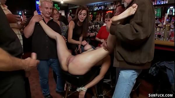 Natural big tits sub public anal banged