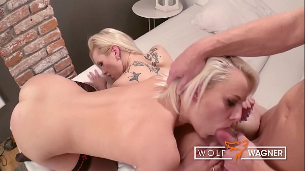 Threesome with 2 horny blondes including anal & ass-to-mouth! wolfwagner.com
