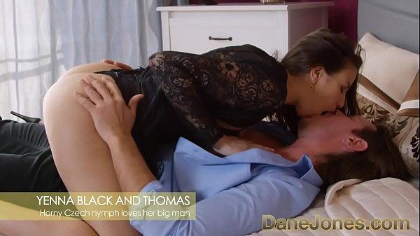 Dane Jones Czech nympho in sexy black lingerie loves big stud's big cock