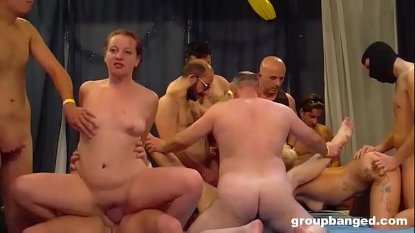 Three Sluts and a Room Full of Cock