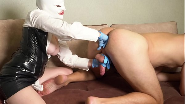 the girl milked the prostate, jerked off the dick and made cum on her big tits