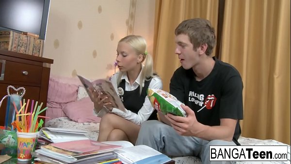 Blonde school girl needs extra help with her ho...