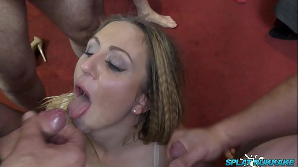 Sexy British MILF takes facials in a bukkake