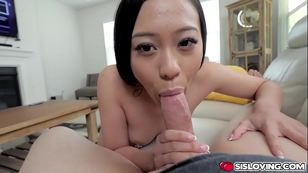 Jasmine Grey sucking stepbros thick cock and lets him bangs her Asian pussy
