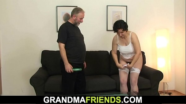 Very old hairy granny in lingerie enjoys double...