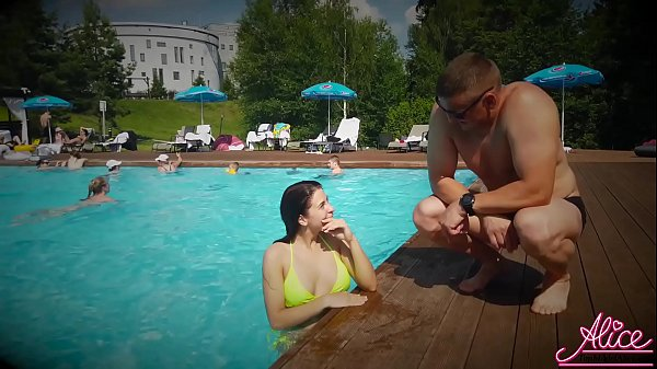 I met a Sexy Girl in the Pool and Passionate Fucking - Cum in Mouth