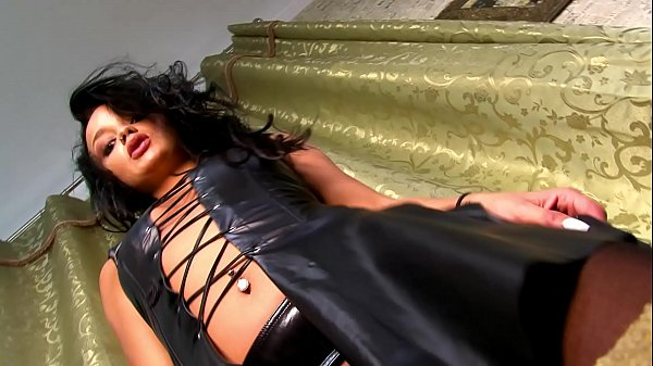 Leather Dress Revealing All, Hot Tight Pussy wi...