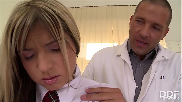 Schoolgirl Gina gets rock hard cock anal ride on clinic's examination table Thumb