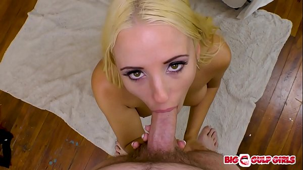 Busty blonde Aspen Romanoff sucking and swallowing a big cum load in POV