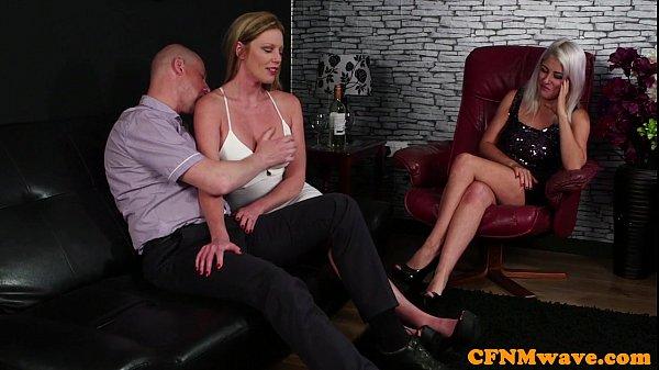 Glam CFNM babes licking lucky dudes knob
