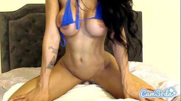 Amia Miley big tits brunette fucking hard with dildo.