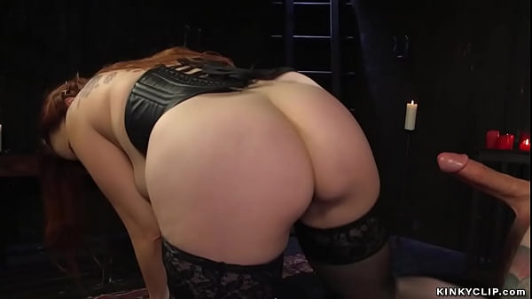 Busty MILF domme pegging tattooed man Thumb