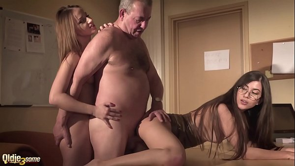 Sexy secretary joins in hardcore threesome with...