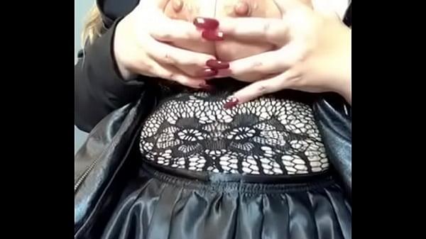 Oiled up big natural tits