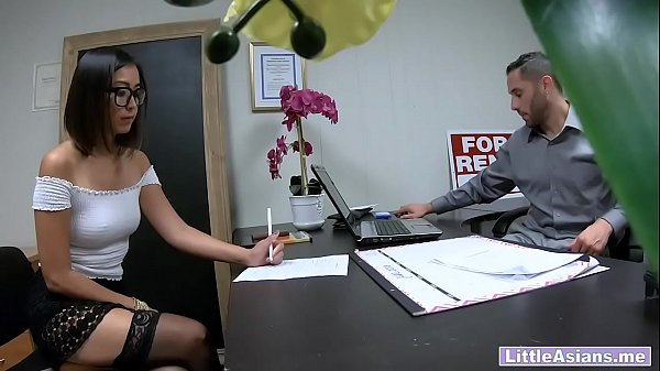 Young Asian real estate agent is horny at job interview