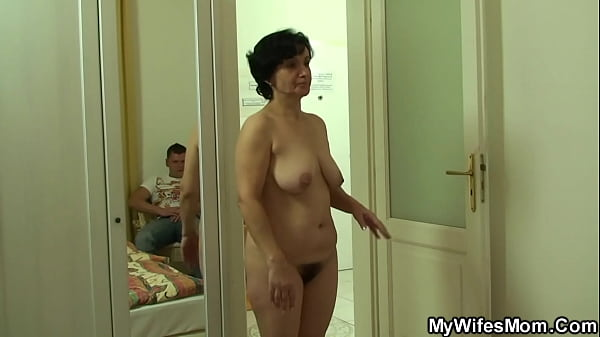 Old mother inlaw rides his cheating cock after ...