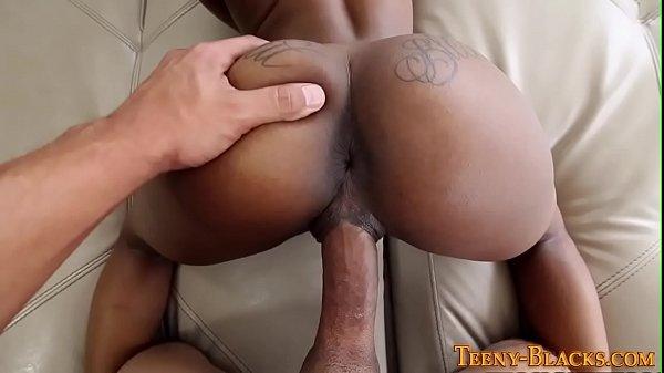 Ebony slut gets creampied