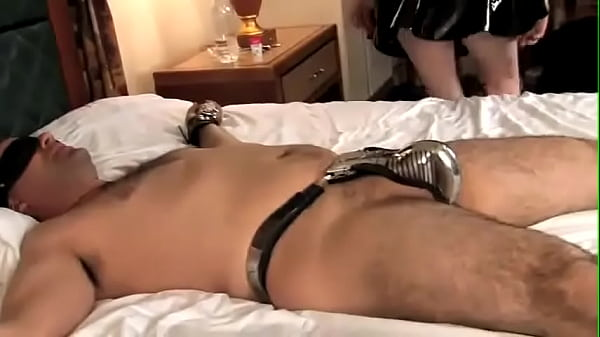 Chastity slave gets locked into full belt and used
