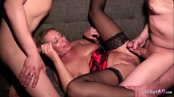 Big Hanging Tits German Aunt at Taboo Threesome with Nephew and Husband