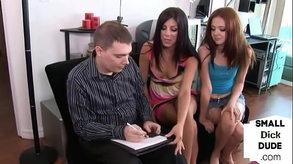 Dominant babes humiliate tiny dick nerd with hj