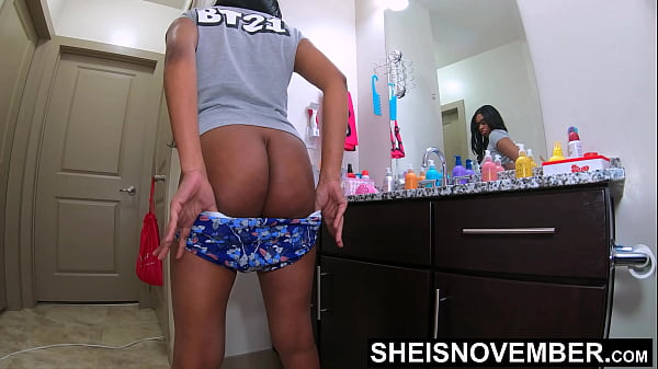 4k Super Ebony Geek Booty Msnovember Erotic Mooning Backside While Standing Putting Panties On With Amazing Hooters and Nipples Out on Sheisnovember