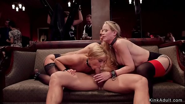 Blonde bdsm gangbang in brunch party