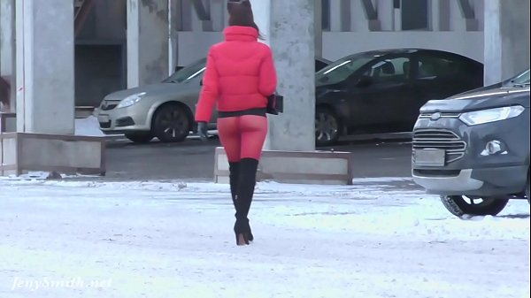 Red Tights. Jeny Smith public walking in tight seamless red pantyhose (no panties) Thumb