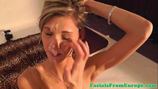 Cum loving skinny blondes facial cream