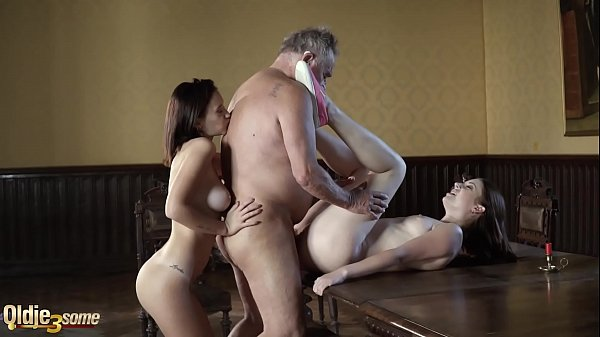 Grandpa fucks two y. in their sexy holes and wa...