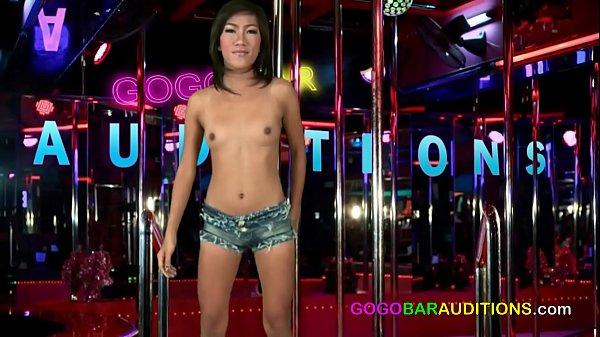Thai slut with a fat pussy fucks for a gogo bar...