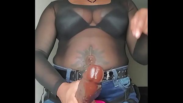 Ebony Jeans Strap On Fetish