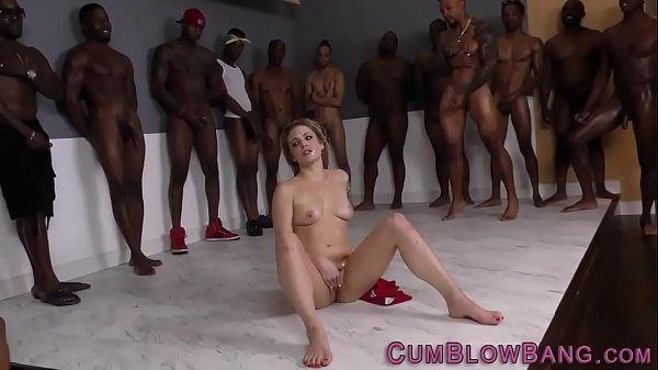 Blonde gets interracial bukkake