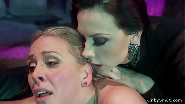 Blonde lesbian anal fucked after party