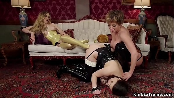 Lesbian domme in latex anal fucks subs