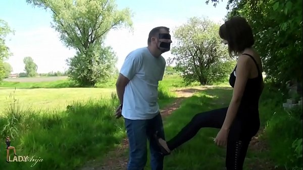 Public Ballbusting Session CBT, Cock and Ball t.