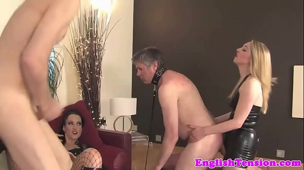 BDSM mistresses humiliate subject in group