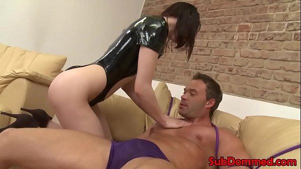 European bdsm babe wanks bondage subs cock