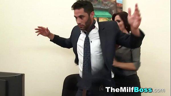 Fem boss catches guy wanking