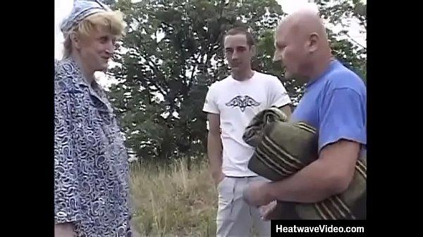 Grandfather and his grandson fucks granny