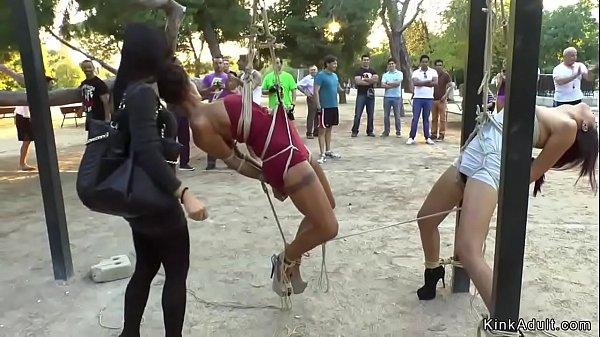 Two sluts tormented in public park gym